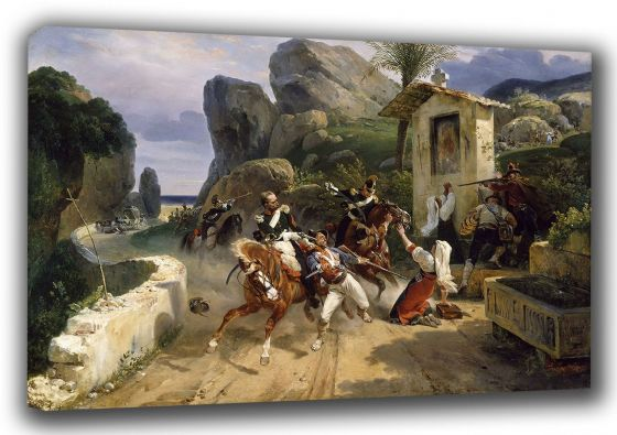 Vernet, Emile Jean Horace: Italian Brigands Surprised by Papal Troops. Fine Art Canvas. Sizes: A3/A2/A1 (003477)